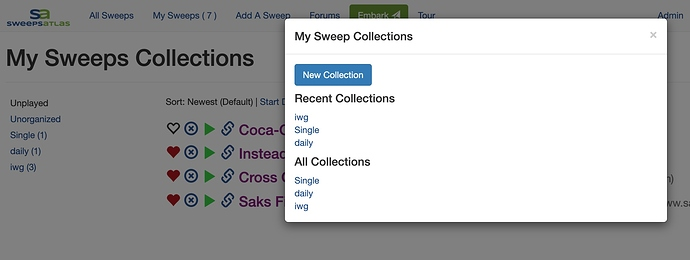 My Sweeps Collections Dialog